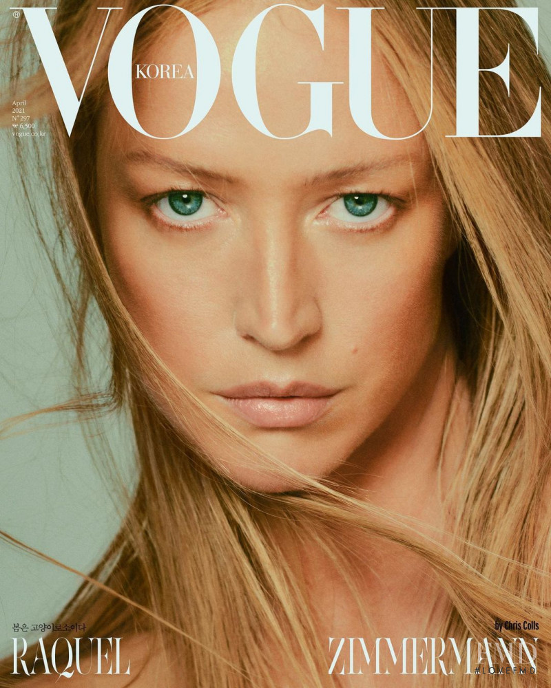 Raquel Zimmermann featured on the Vogue Korea cover from April 2021