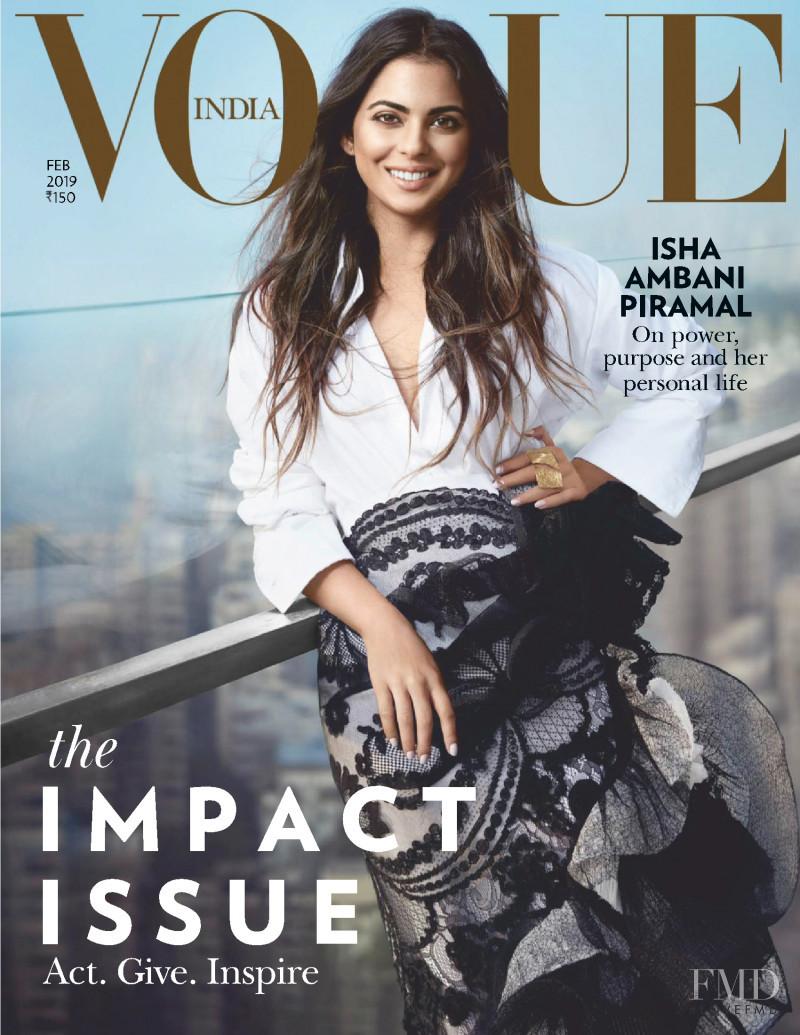 Isha Ambani Piramal featured on the Vogue India cover from February 2019