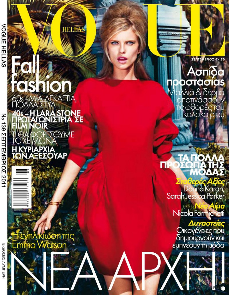 Sophie Holmes featured on the Vogue Greece cover from September 2011