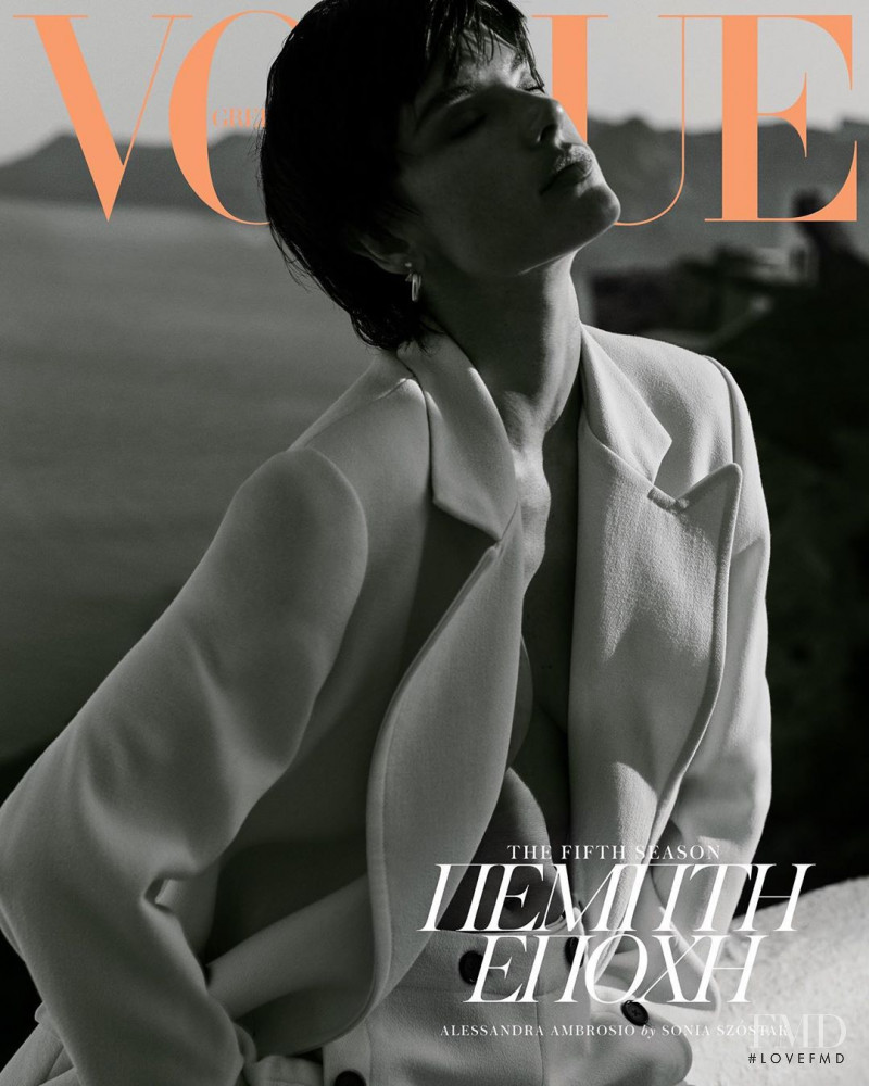 Alessandra Ambrosio featured on the Vogue Greece cover from August 2019
