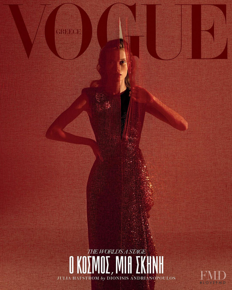 Julia Hafstrom featured on the Vogue Greece cover from October 2019