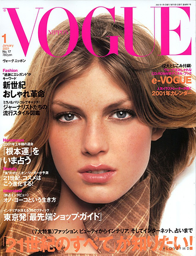 Angela Lindvall featured on the Vogue Japan cover from January 2001