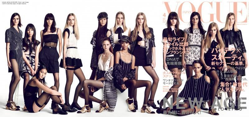 Jamie Bochert, Suvi Koponen, Daria Strokous, Liu Wen, Amanda Murphy, Sam Rollinson, Issa Lish, Ondria Hardin, Chiharu Okunugi, Maartje Verhoef, Malaika Firth, Binx Walton, Lexi Boling, Natalie Westling, Vanessa Moody featured on the Vogue Japan cover from April 2015