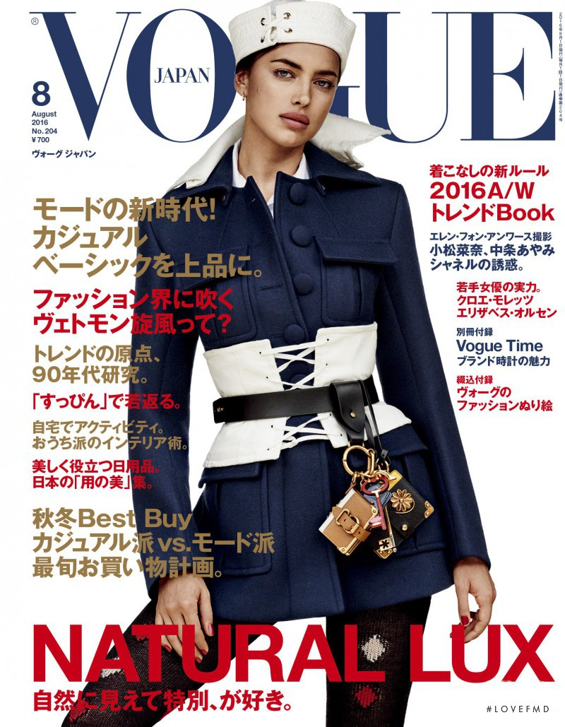 Irina Shayk featured on the Vogue Japan cover from August 2016