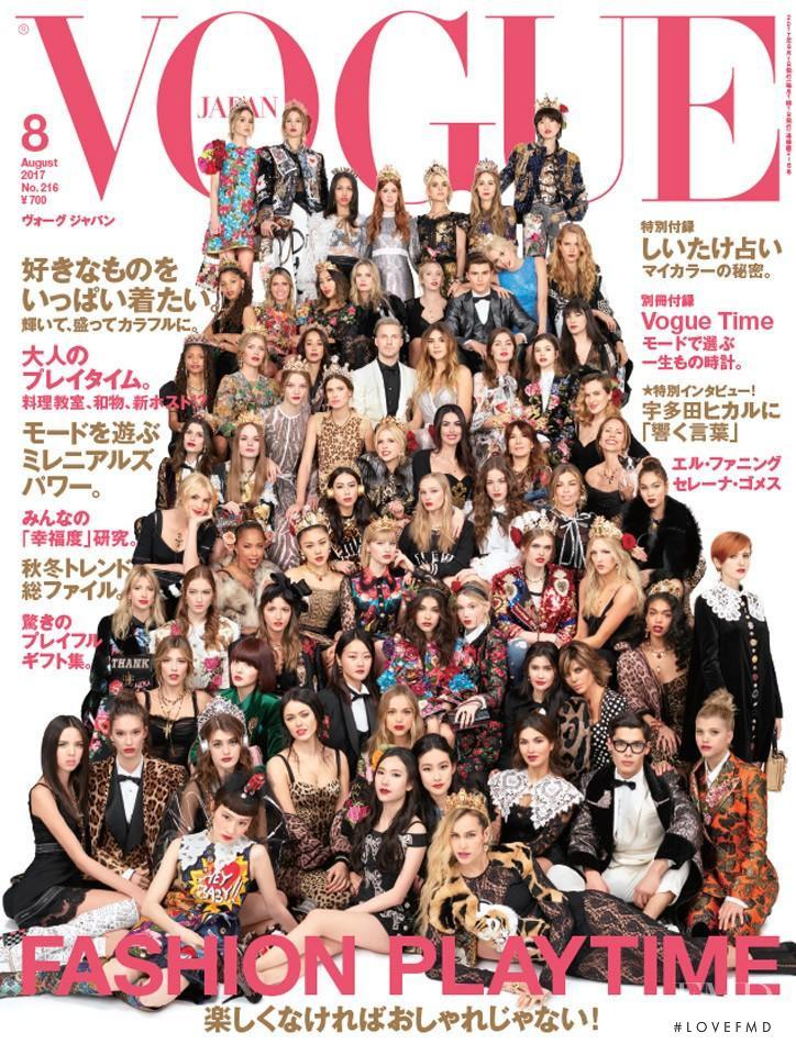 Bianca Balti, Hyoni Kang, Danni Li, Alice Dellal, Marie Ange Casta, Ella Merryweather, Roos Abels, Kenya Kinski Jones featured on the Vogue Japan cover from August 2017