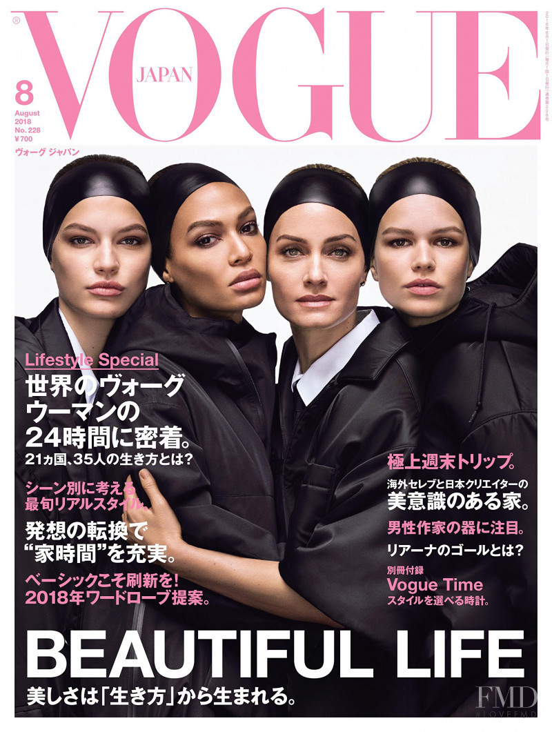 Amber Valletta, Joan Smalls, Anna Ewers, Faretta Radic featured on the Vogue Japan cover from August 2018