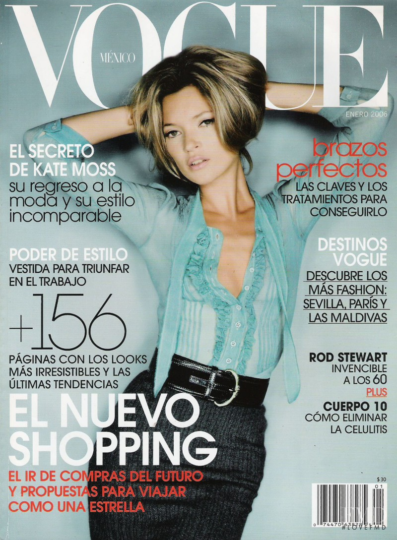 Kate Moss featured on the Vogue Mexico cover from January 2006