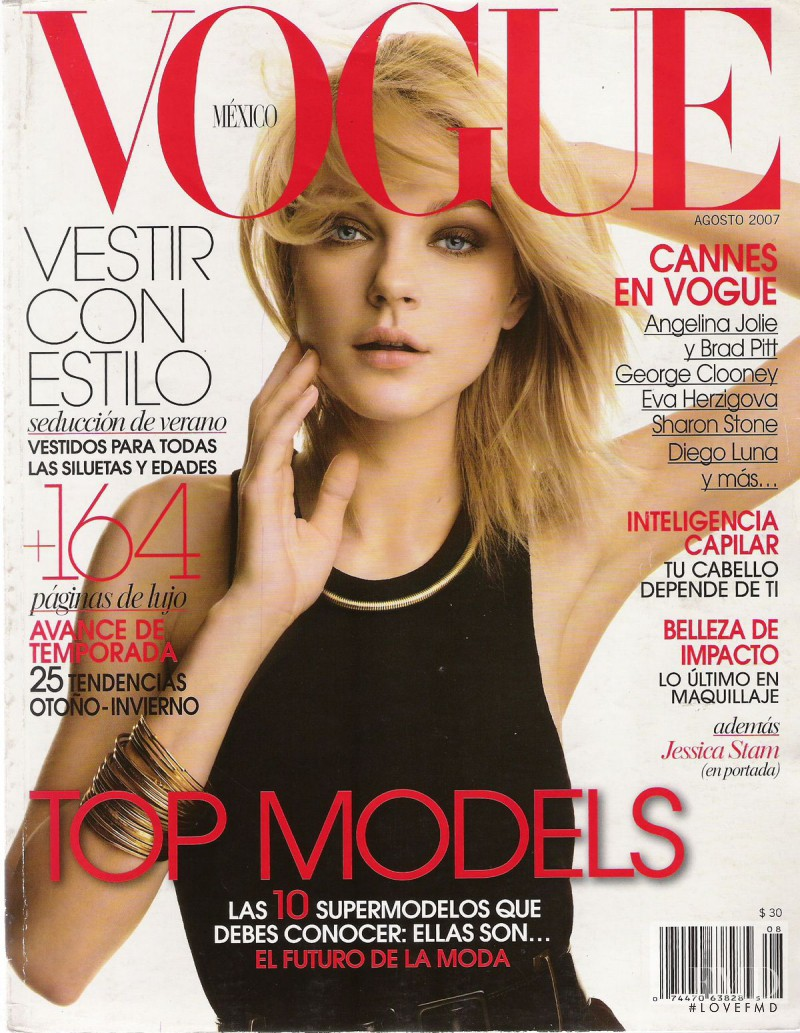 Jessica Stam featured on the Vogue Mexico cover from August 2007