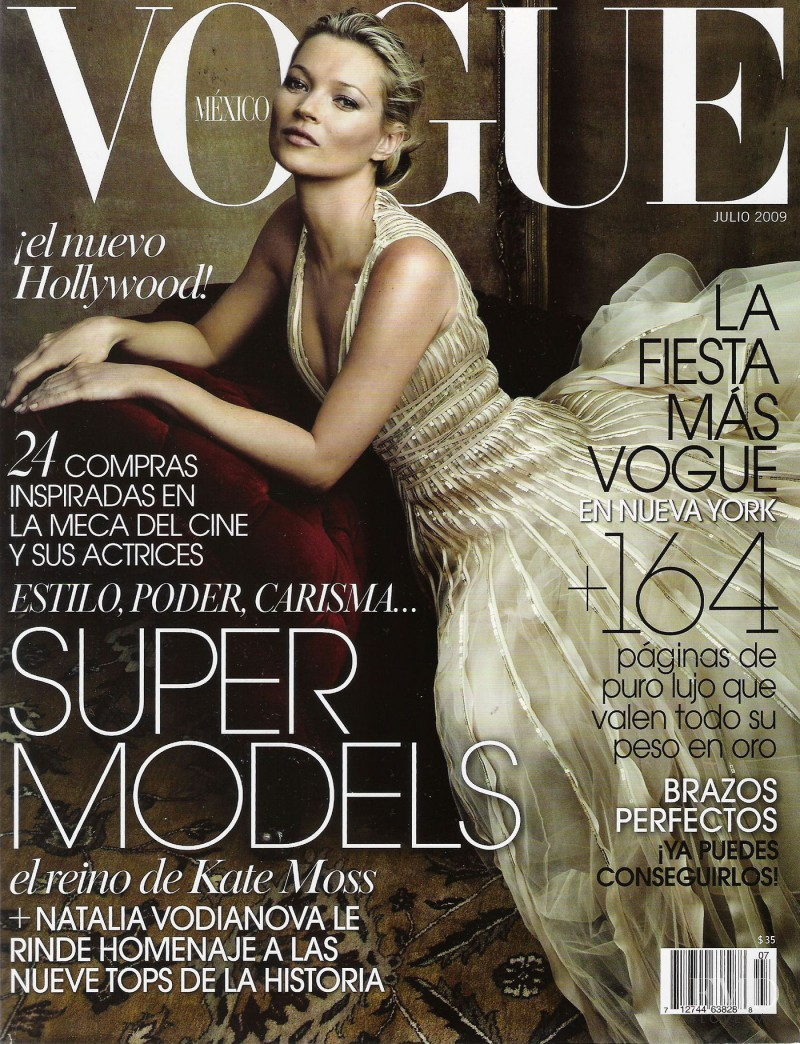 Kate Moss featured on the Vogue Mexico cover from July 2009