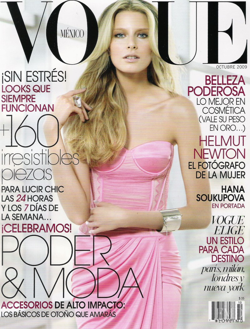 Hana Soukupova featured on the Vogue Mexico cover from October 2009