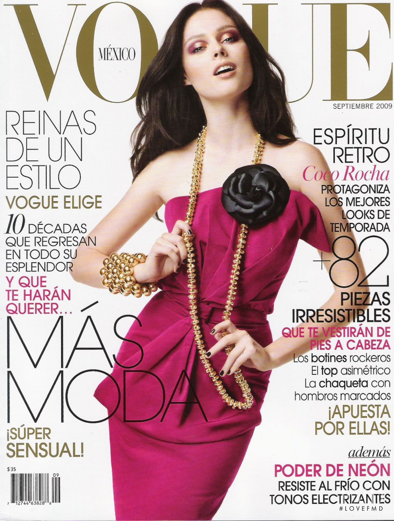 Coco Rocha featured on the Vogue Mexico cover from September 2009