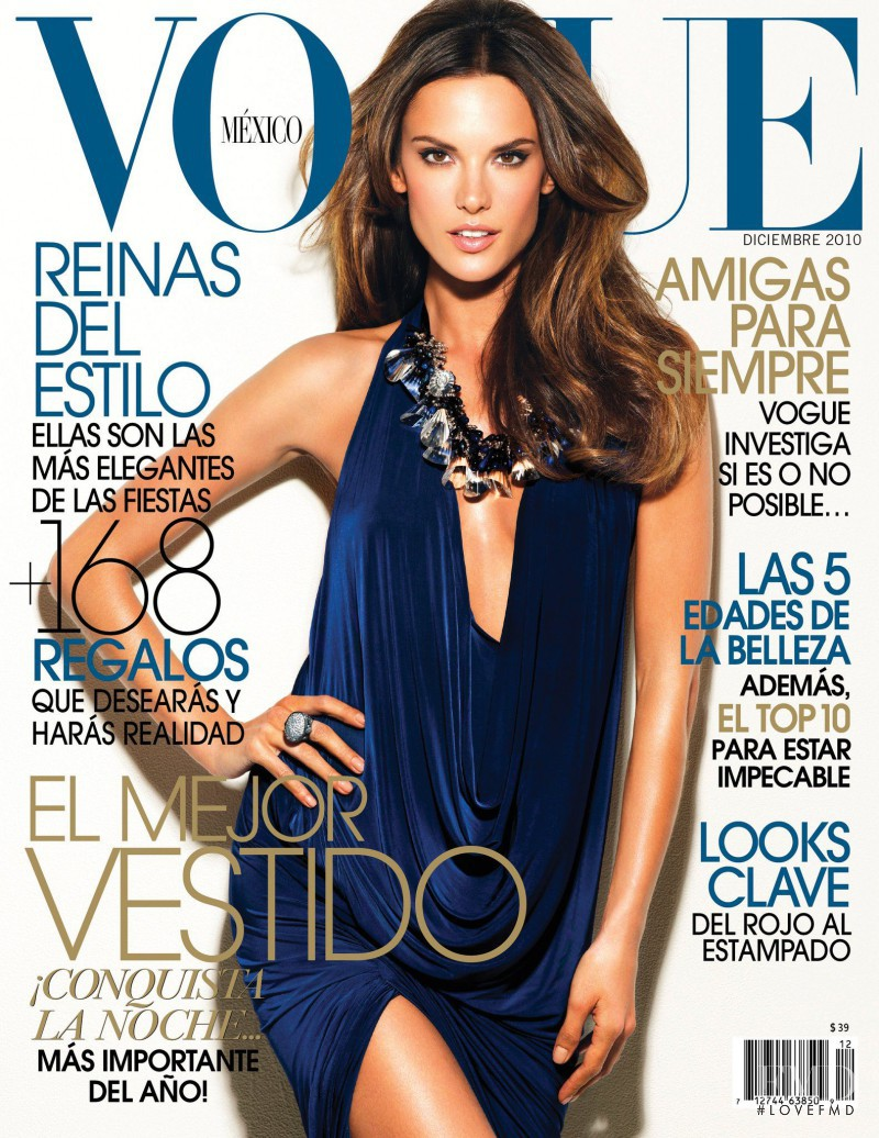 Alessandra Ambrosio featured on the Vogue Mexico cover from December 2010