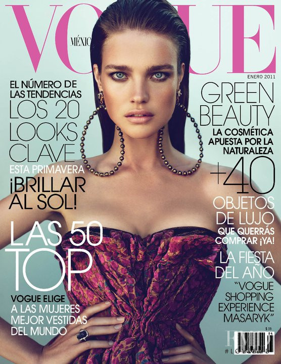 Natalia Vodianova featured on the Vogue Mexico cover from January 2011