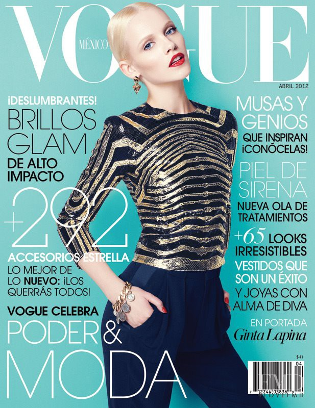 Ginta Lapina featured on the Vogue Mexico cover from April 2012