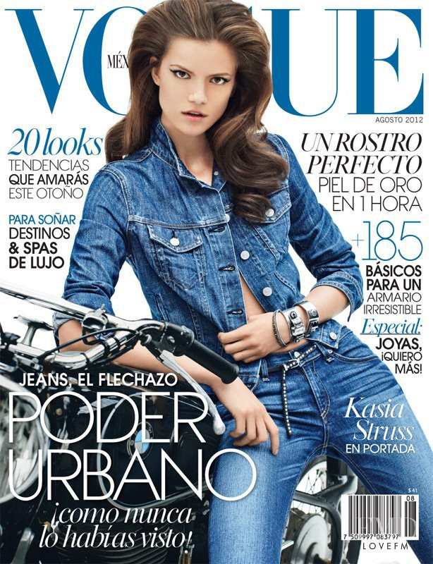 Kasia Struss featured on the Vogue Mexico cover from August 2012