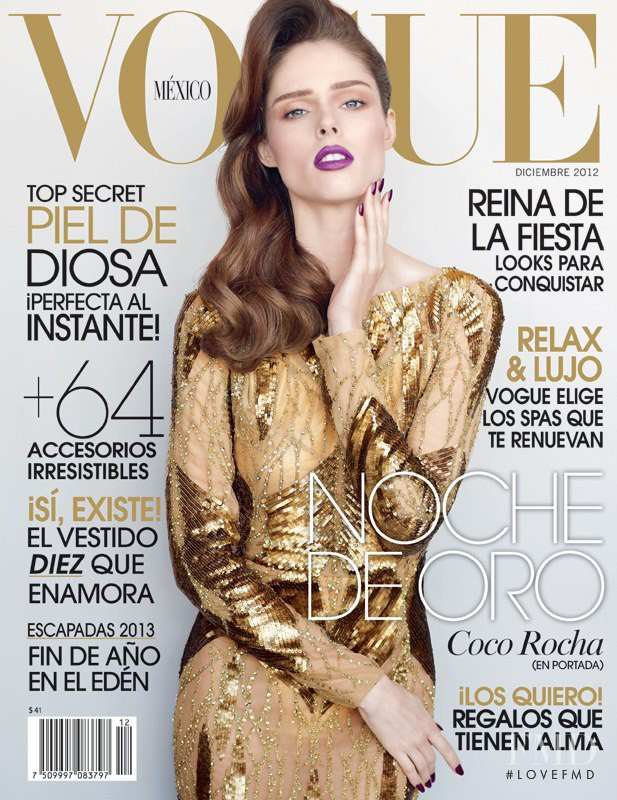 Coco Rocha featured on the Vogue Mexico cover from December 2012