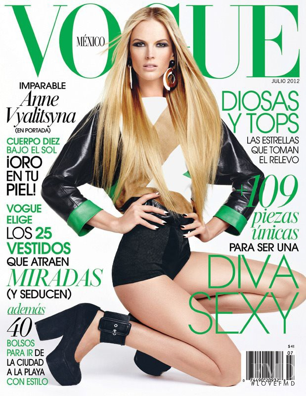Anne Vyalitsyna featured on the Vogue Mexico cover from July 2012