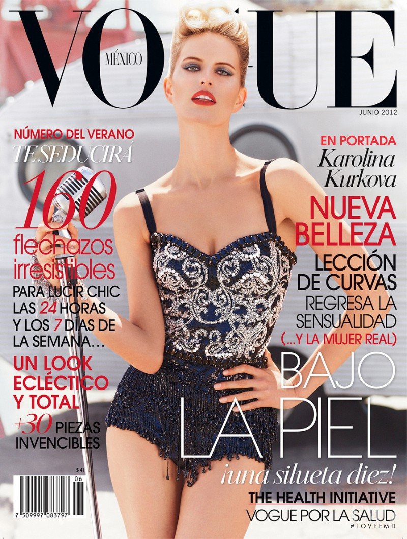 Karolina Kurkova featured on the Vogue Mexico cover from June 2012