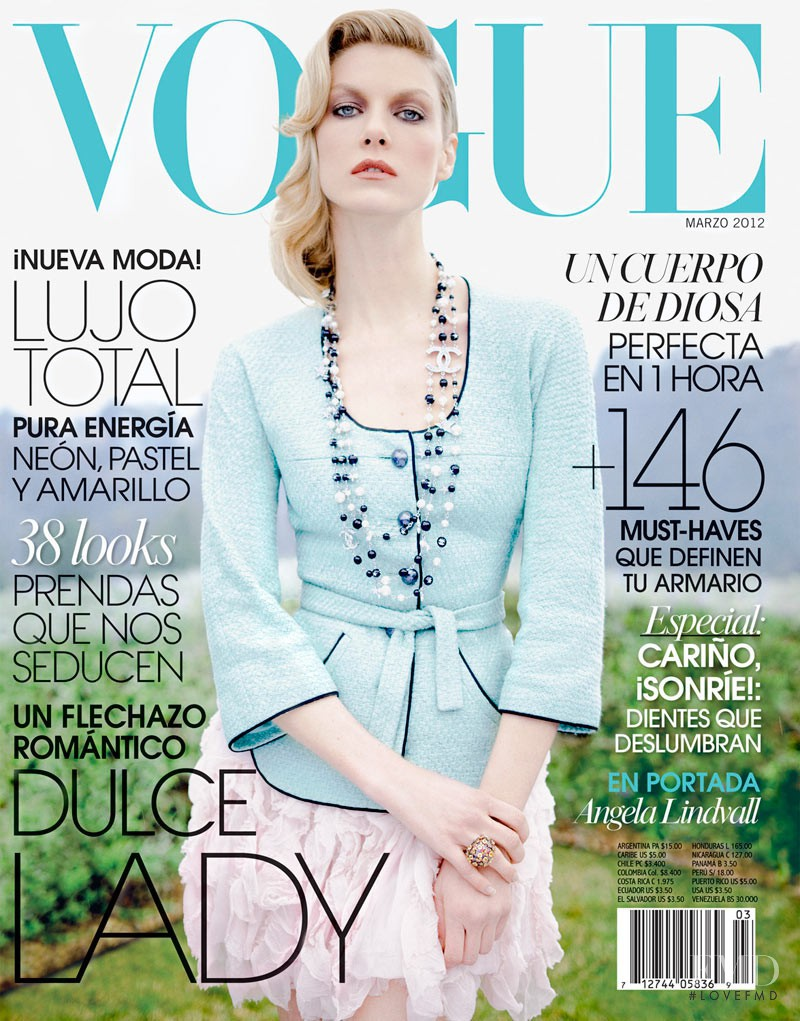 Angela Lindvall featured on the Vogue Mexico cover from March 2012