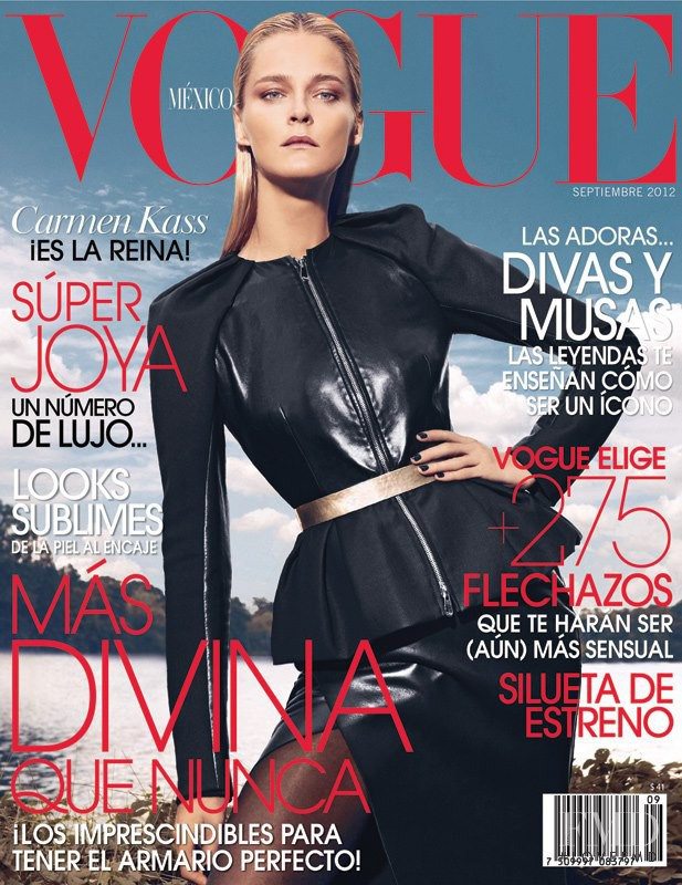 Carmen Kass featured on the Vogue Mexico cover from September 2012