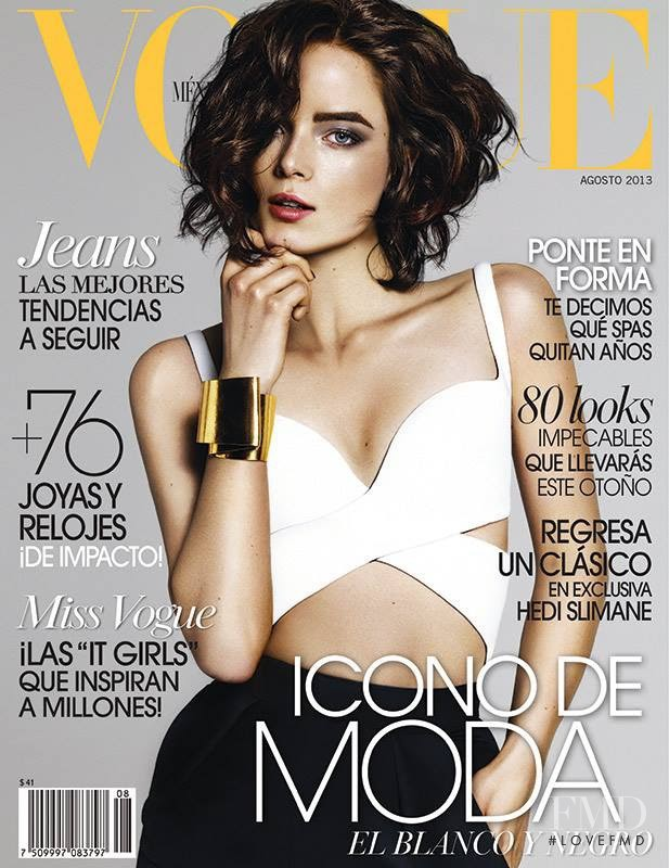 Anna de Rijk featured on the Vogue Mexico cover from August 2013