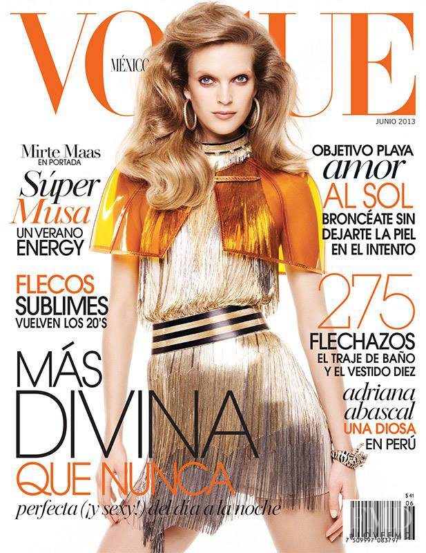 Mirte Maas featured on the Vogue Mexico cover from June 2013