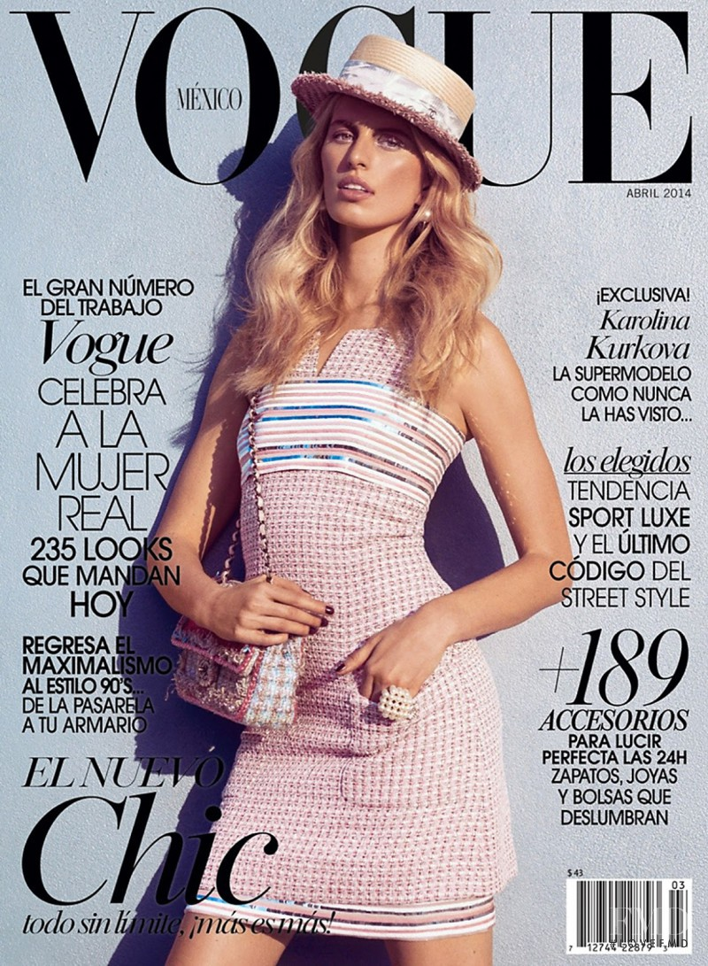 Karolina Kurkova featured on the Vogue Mexico cover from April 2014