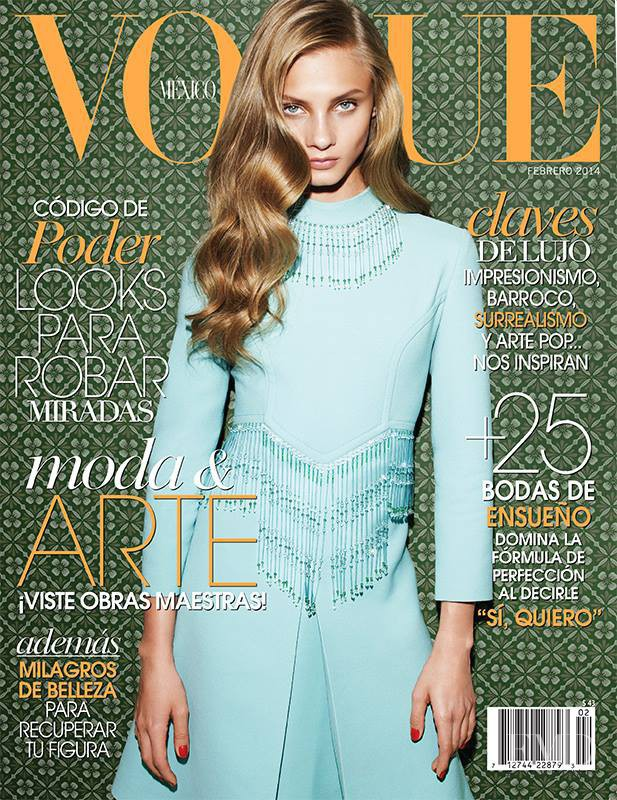 Anna Selezneva featured on the Vogue Mexico cover from February 2014