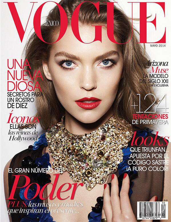 Arizona Muse featured on the Vogue Mexico cover from May 2014