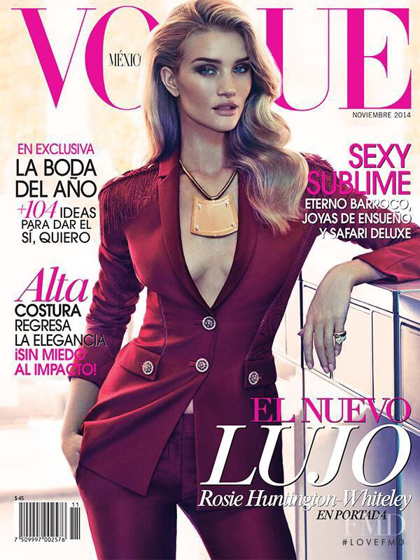 Rosie Huntington-Whiteley featured on the Vogue Mexico cover from November 2014