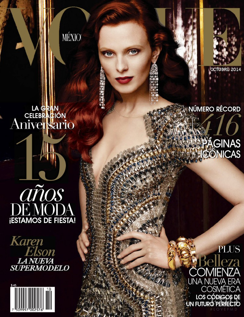 Karen Elson featured on the Vogue Mexico cover from October 2014