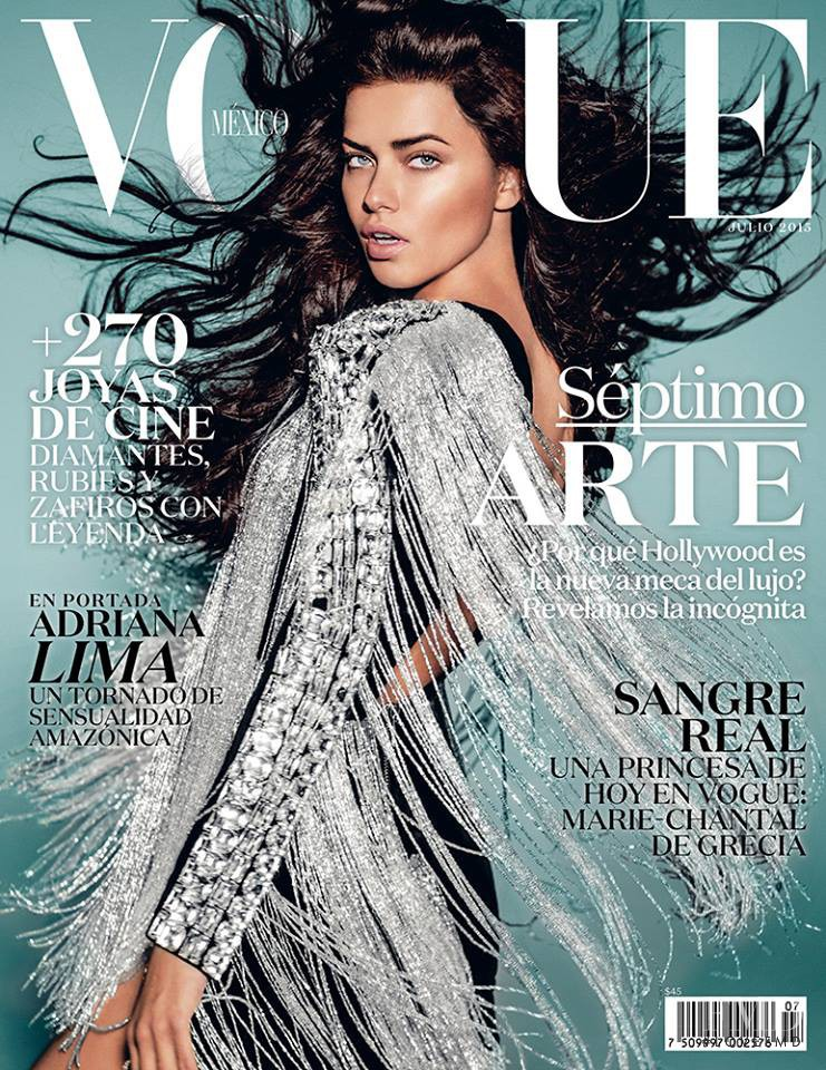 Adriana Lima featured on the Vogue Mexico cover from July 2015