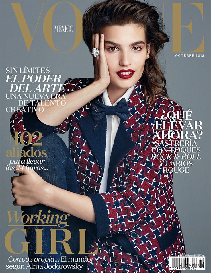 Alma Jodorowsky featured on the Vogue Mexico cover from October 2015