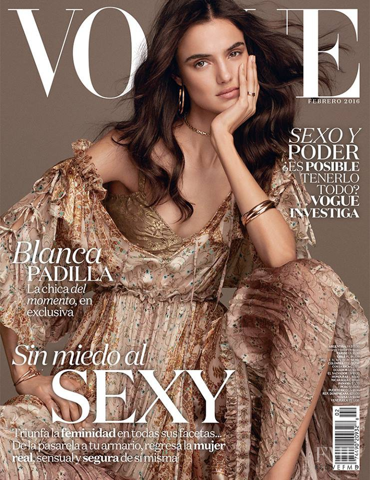 Blanca Padilla featured on the Vogue Mexico cover from February 2016
