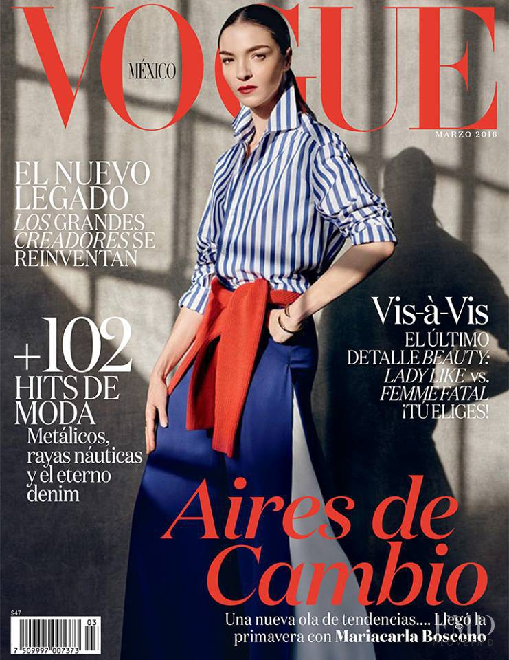 Mariacarla Boscono featured on the Vogue Mexico cover from March 2016