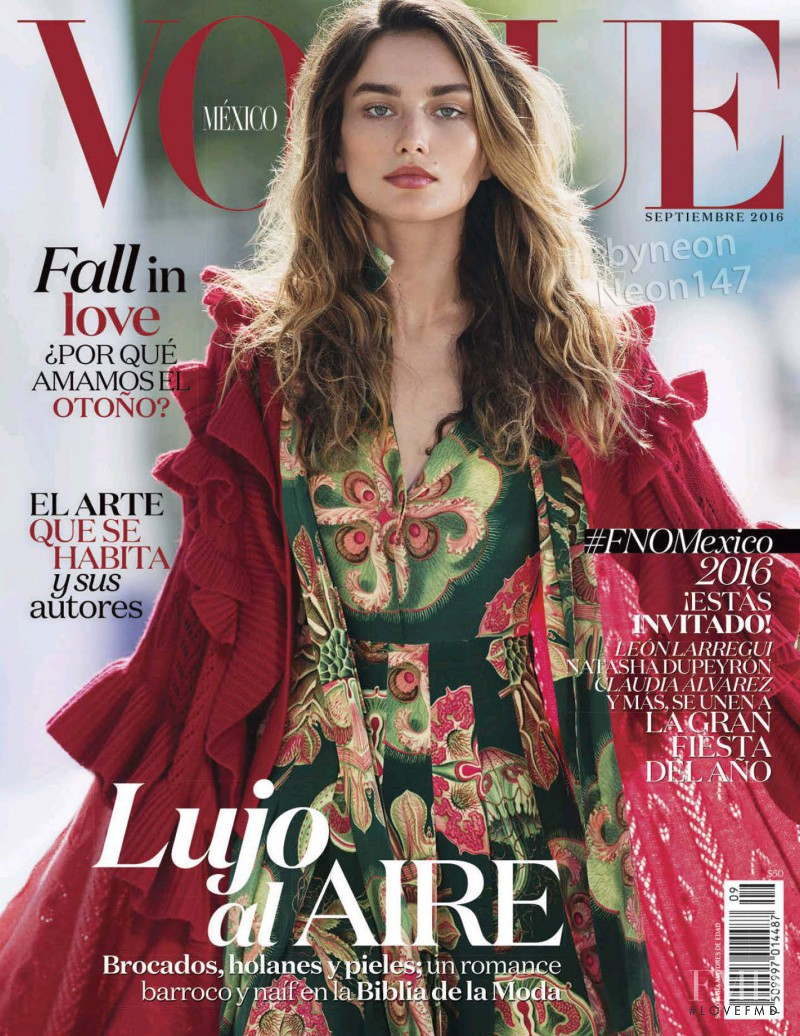 Andreea Diaconu featured on the Vogue Mexico cover from September 2016
