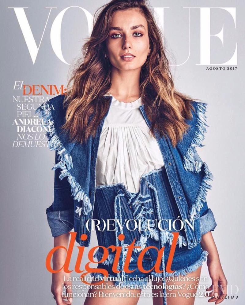 Andreea Diaconu featured on the Vogue Mexico cover from August 2017