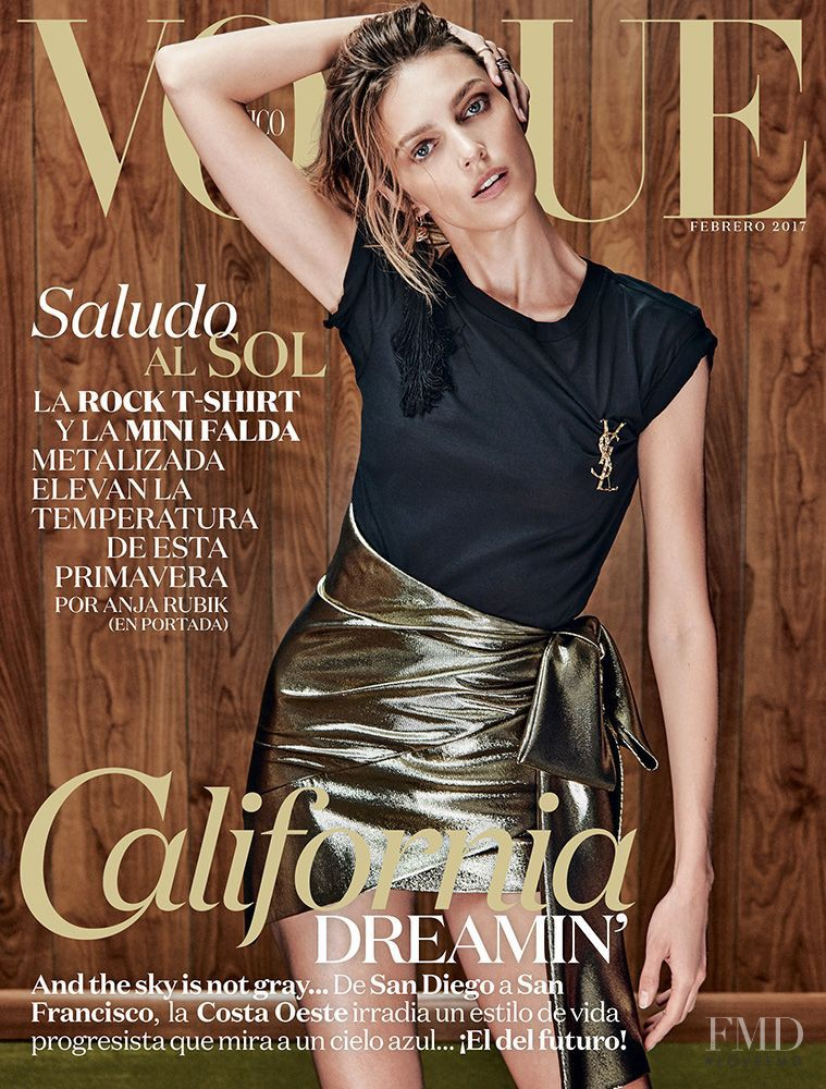 Anja Rubik featured on the Vogue Mexico cover from February 2017