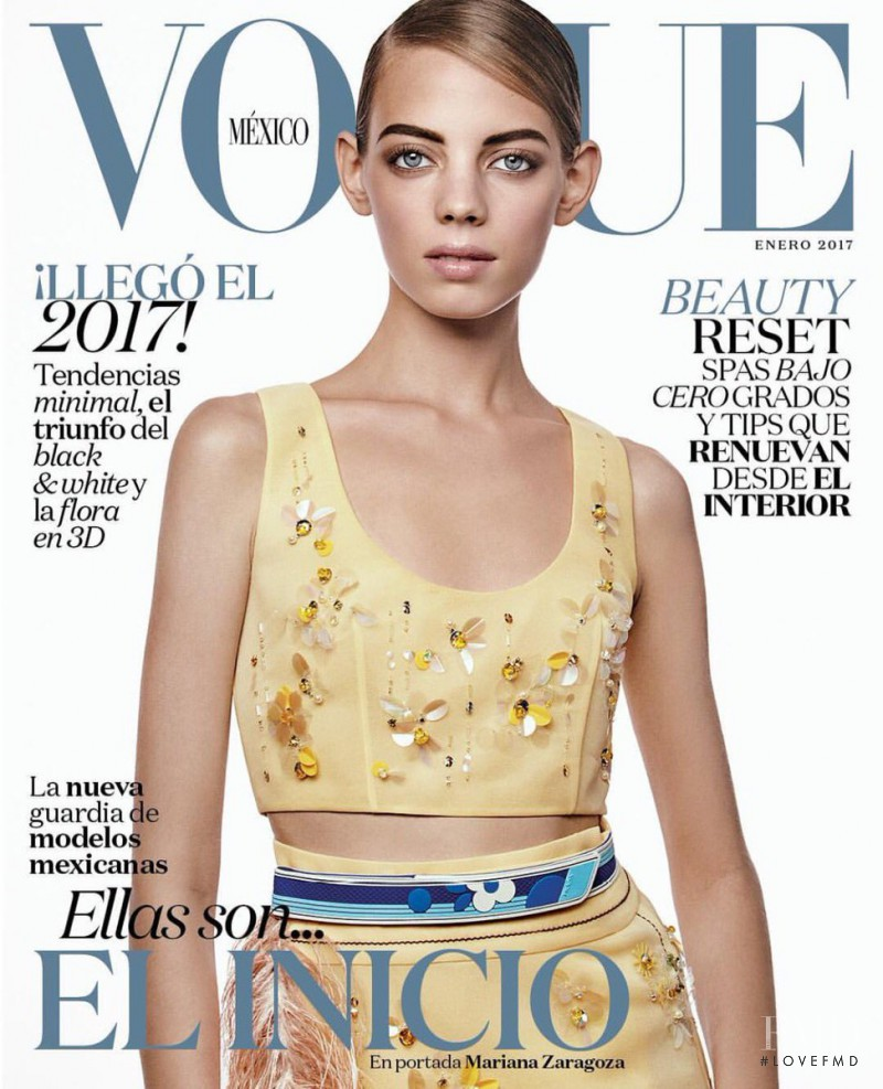 Mariana Zaragoza featured on the Vogue Mexico cover from January 2017