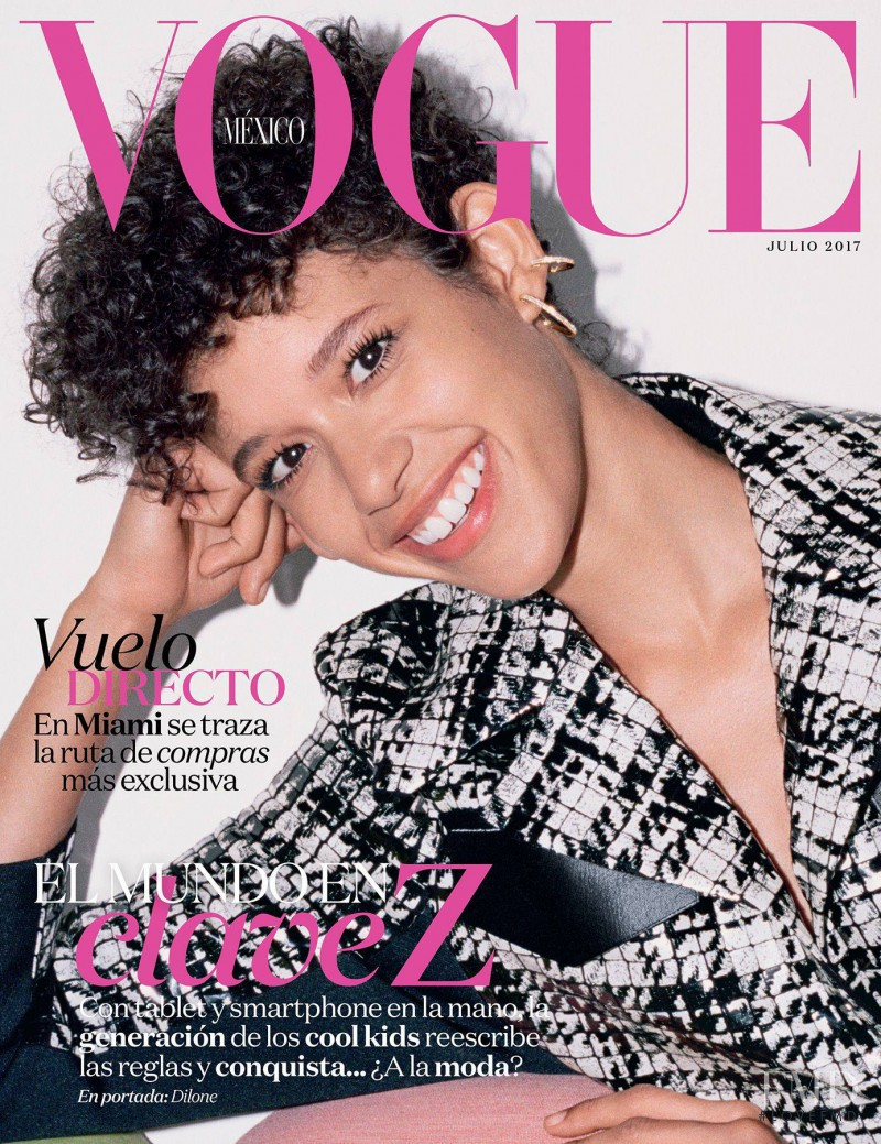 Janiece Dilone featured on the Vogue Mexico cover from July 2017