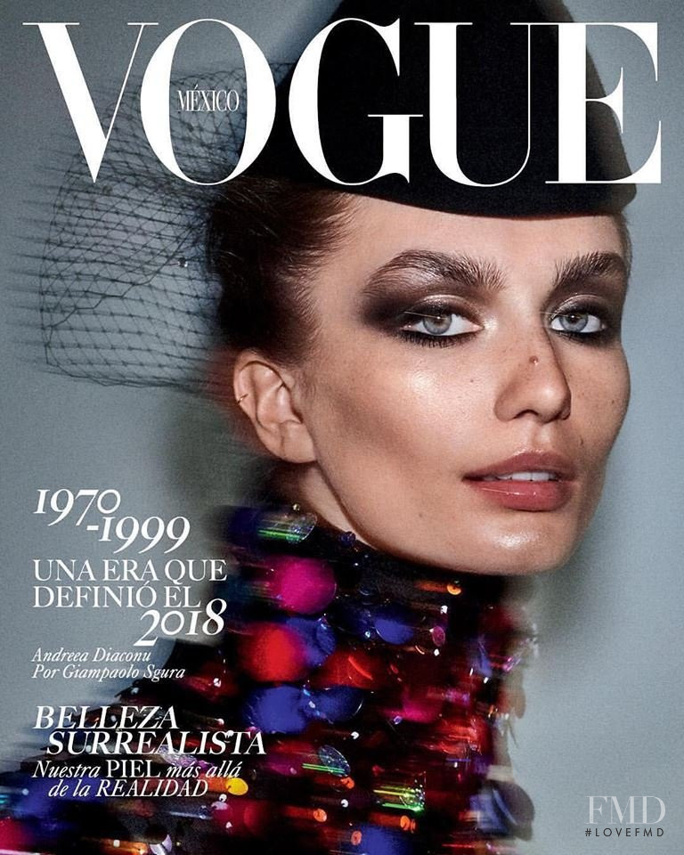 Andreea Diaconu featured on the Vogue Mexico cover from August 2018