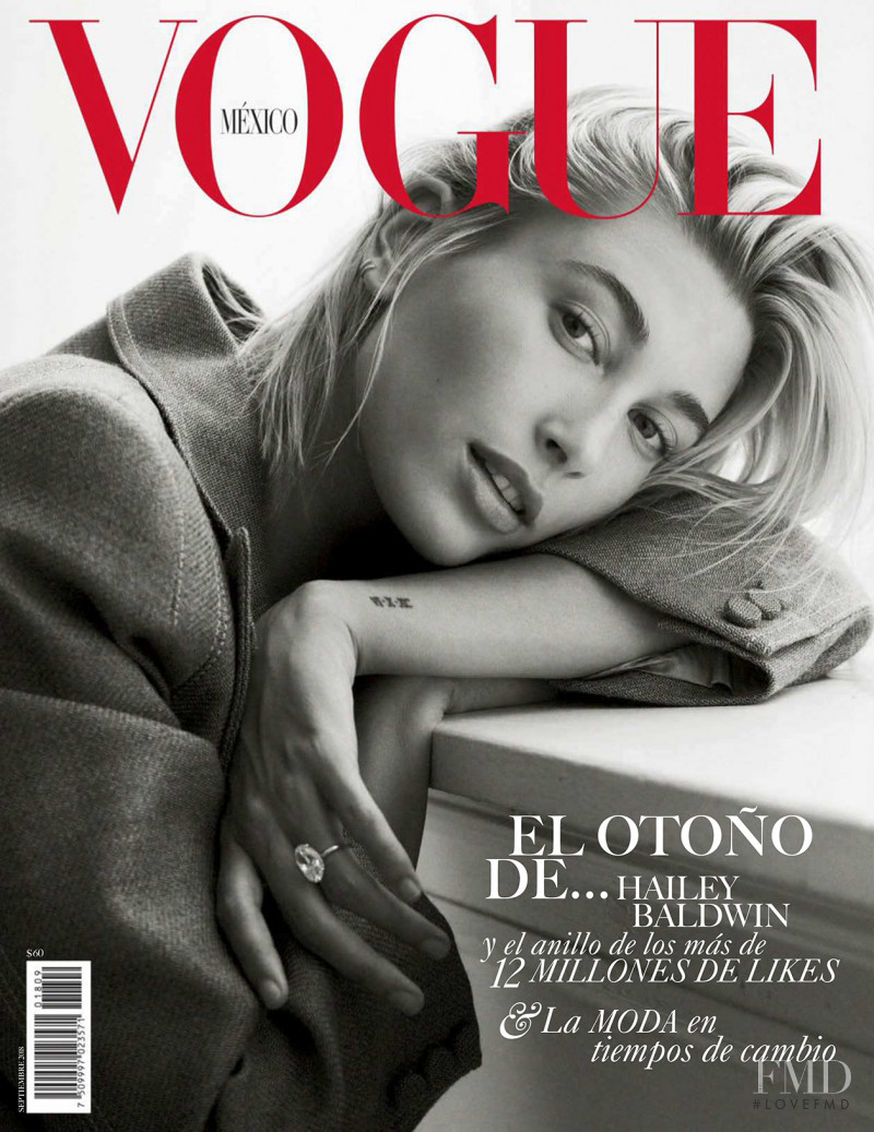 Hailey Baldwin featured on the Vogue Mexico cover from September 2018