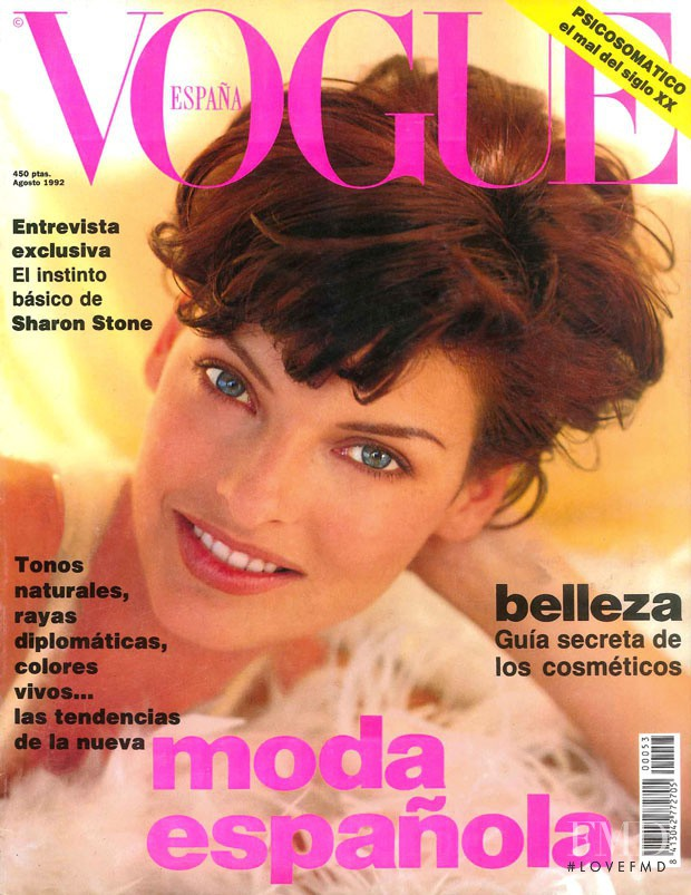 Linda Evangelista featured on the Vogue Spain cover from August 1992