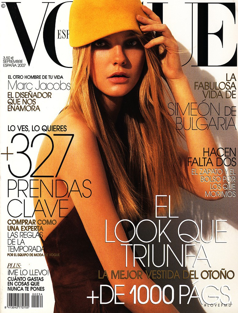 Caroline Trentini featured on the Vogue Spain cover from September 2007