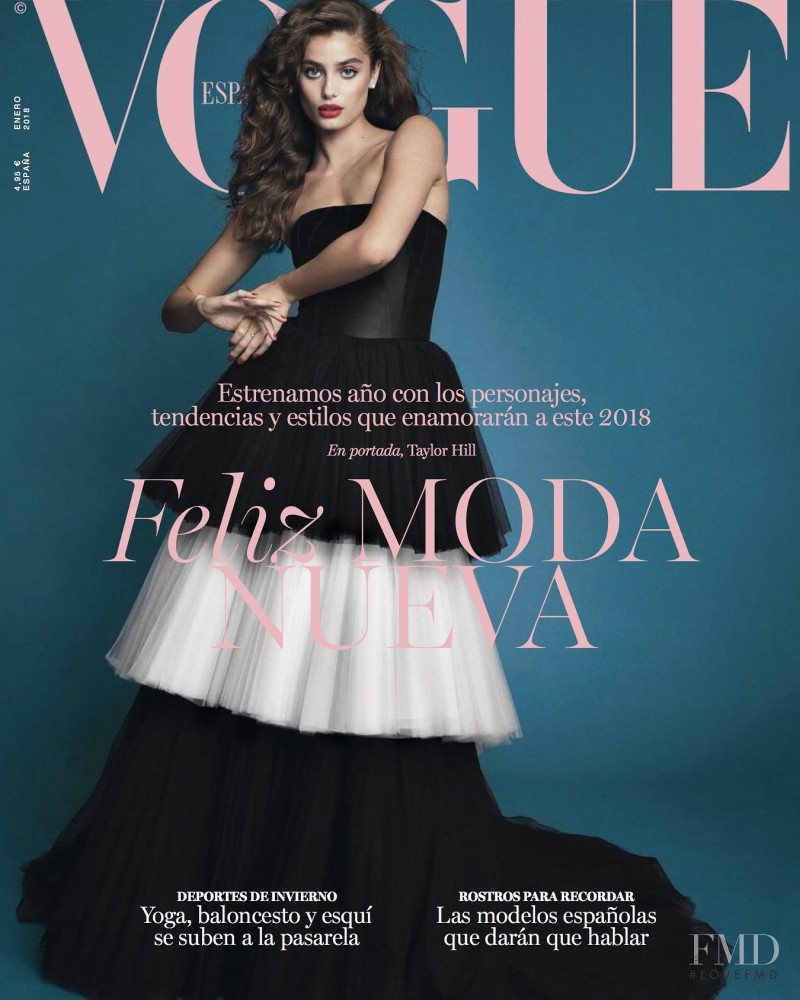 Taylor Hill featured on the Vogue Spain cover from January 2018