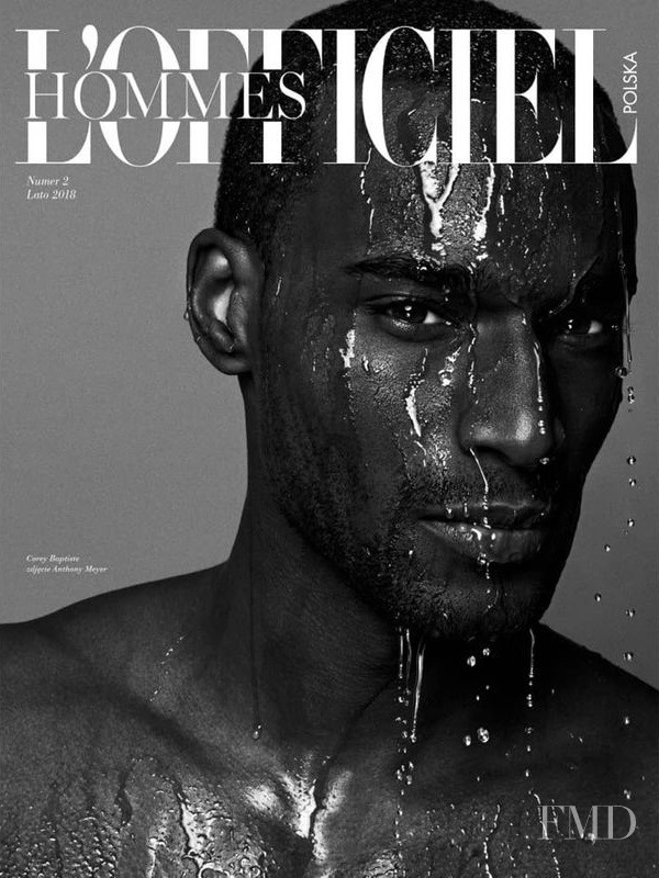 Corey Baptiste featured on the L\'Officiel Hommes Poland cover from August 2018