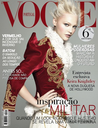 Sasha Pivovarova featured on the Vogue Portugal cover from November 2008