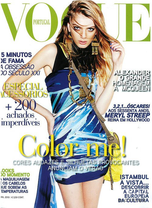 Bregje Heinen featured on the Vogue Portugal cover from April 2010