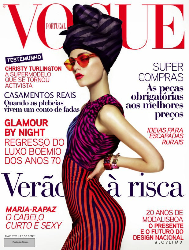 Caroline Brasch Nielsen featured on the Vogue Portugal cover from May 2011