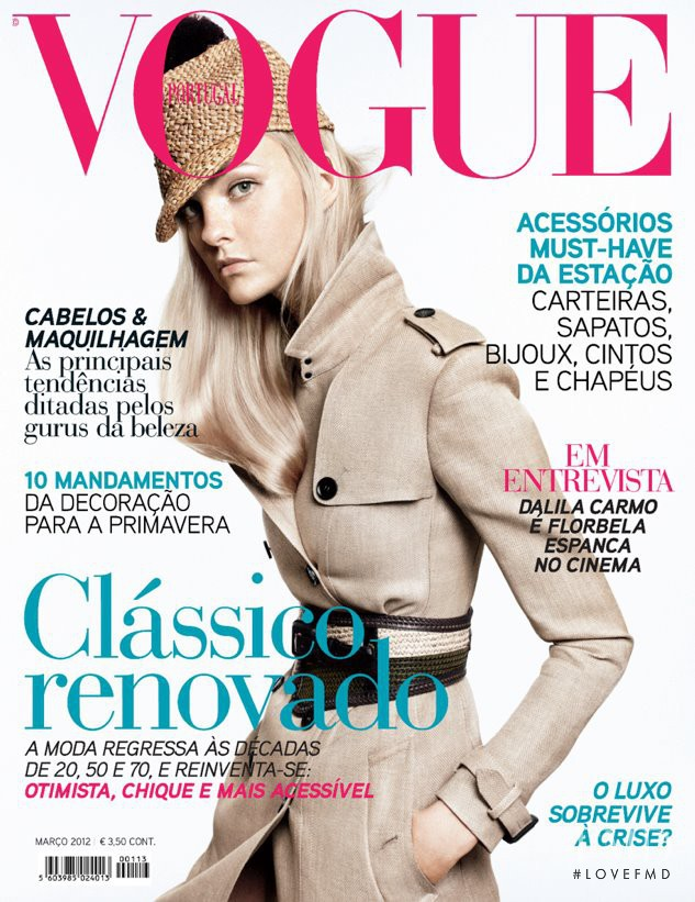 Caroline Trentini featured on the Vogue Portugal cover from March 2012
